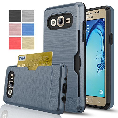 Galaxy On5 Case With HD Screen Protector,[Card Slots Holder][Not Wallet] Hard Plastic PC TPU Soft Hybrid Shockproof Heavy Duty Protective Holster Case For Samsung Galaxy On5/G550 KC2 Metal Slate (Slate Galaxy)