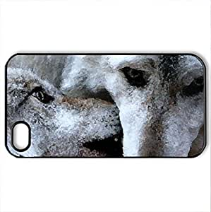 Arctic Wolves - Case Cover for iPhone 4 and 4s (Watercolor style, Black)