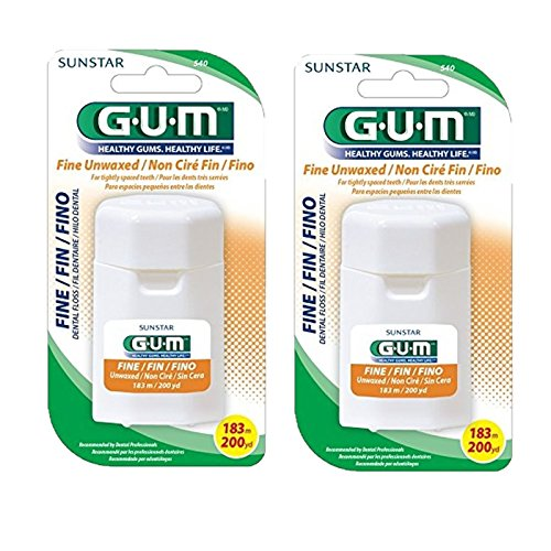 GUM Fine Unwaxed Dental Floss 200 Yards with Dispenser (Pack of 2) -