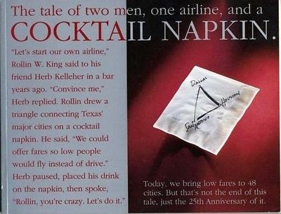 Postcard Vintage Airline - Tale of Two Men, One Airline & a Cocktail Napkin Southwest Airlines 1996 25th
