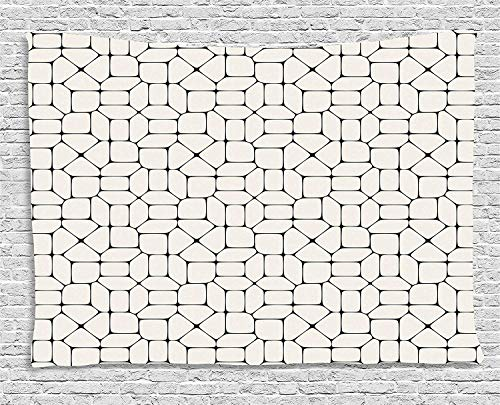 - THndjsh Geometric Tapestry, Black and White Mosaic Pavement Tile Bricks Modern Conceptual Tracery Design, Wall Hanging for Bedroom Living Room Dorm, 80WX60L Inches, Black White