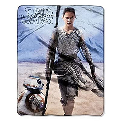 "Disney Star Wars Rey & BB-8 Silky Soft Plush Throw Blanket 40"" x 50"" 102 x 127 cm: Home & Kitchen"