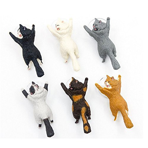Cute Cat Phone Holder, Chris.W 6Pack Universal Cell Phone Tablet Stand for iPad Mini/Pro/Air, iPhone 6/7/8 Plus/X, Samsung, Android Mobile Phone, Suction Cup Desktop Mounts(Multi) by Chris.W