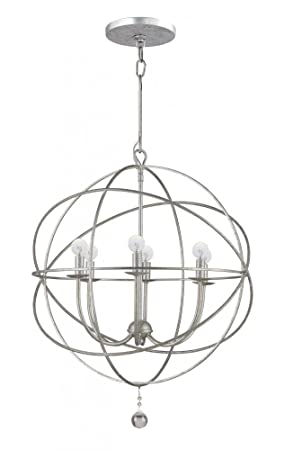 Crystorama 9226-OS Transitional Six Light Chandeliers from Solaris collection in Pwt, Nckl, B S, Slvr.finish,