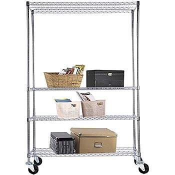 Amazon.com: Storage Rack 4-Tier Chrome Organizer Kitchen Shelving ...
