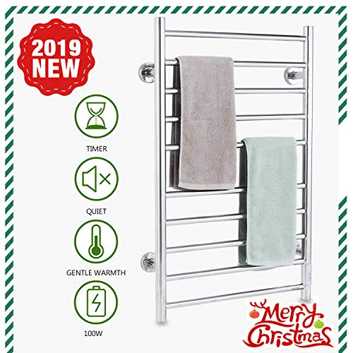 Simpleliving Towel Warmer Wall Mounted Plug-in Straight Home Bathroom 10 Bar Stainless -