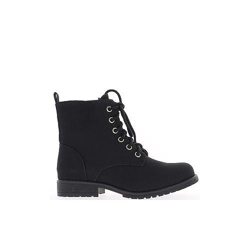 Botines de mujeres negras en tacos de 2,5 cm y cordones - 41: Amazon.es: Zapatos y complementos