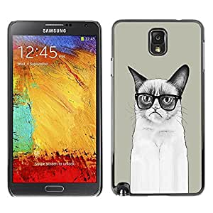 LECELL -- Funda protectora / Cubierta / Piel For Samsung Galaxy Note 3 N9000 N9002 N9005 -- Funny LOL Long Angry Cat --