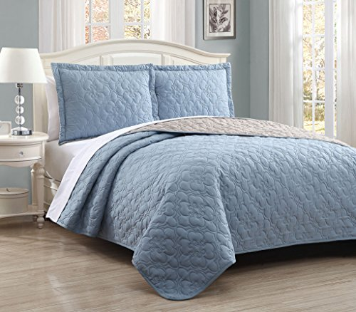 S.L. Home Fashions Stella Steel Blue/Taupe Reversible Bedspread/Quilt Set King (Quilt Stella)