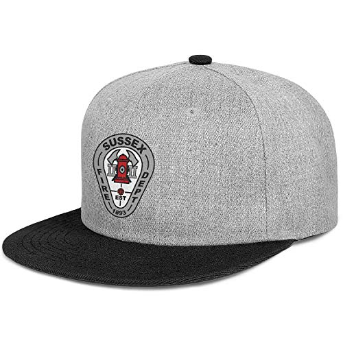 DXQIANG Sussex Fire Department Unisex Hip-Hop Flat Brim Baseball Caps Sun Protection Adjustable Sun Hat