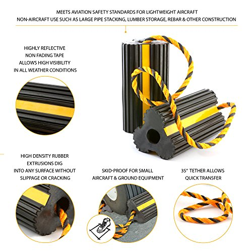 Approved for Automotive AFA Aircraft Wheel Chocks All Weather Safety Reflected 29 Inch Tethered for Small Airplanes by Approved for Automotive (Image #1)
