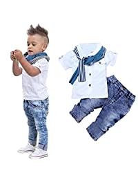 Mostsola 1 Set of Baby Boys Short Sleeve T-Shirt + Scarf + Trousers