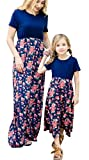 YT couple Family Matching Flower Print Maxi Dress Mommy and Me Floral O-Neck Short Sleeve High Waist Summer Long Dress Blue (Blue, Mom/2XL)