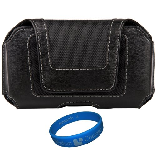 Black Leatherette Executive Holster Carrying Case (Horizontal) for Boost Mobile ZTE Warp Sequent Android Phone + SumacLife TM Wisdom Courage Wristband (Warp Mobile Boost Zte Sequent)