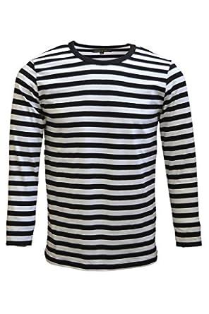 Mens 60's Retro Black & White Striped Long Sleeve T Shirt X-Large ...