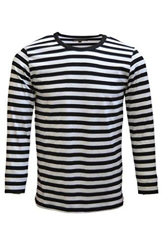 Mens 60's Retro Black & White Striped Long Sleeve T Shirt XX-Large - Black And White Shirts For Men