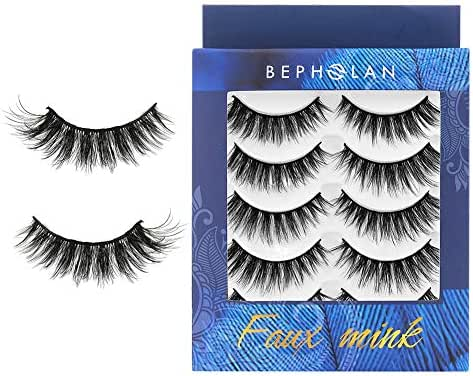 BEPHOLAN 5 Pairs False Eyelashes | Synthetic Fiber Material l Dramatic Flare Look | Long and Fluffy | Cruelty-Free and Handmade | 3D Faux Mink Lashes | XMZ114