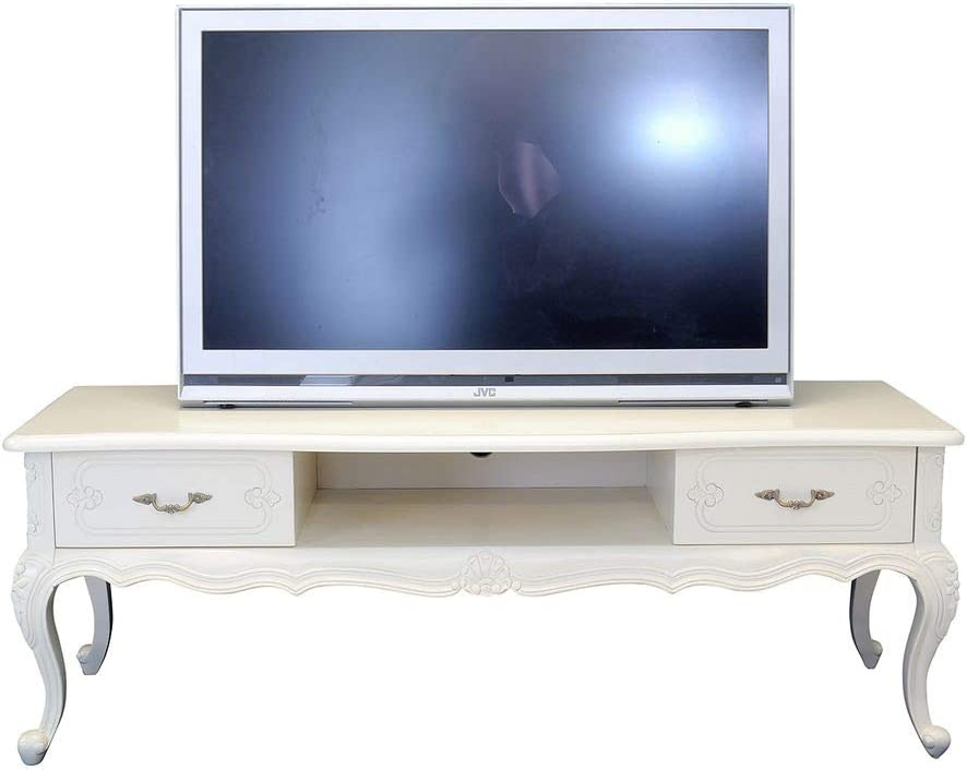 Antike Fundgrube Lowboard TV Schrank TV Tisch Sideboard Massivholz in Creme-weiß (6642): Amazon.es: Juguetes y juegos
