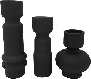 Amazon Brand – Rivet Modern Totem Stoneware Vases, Set of 3, Black