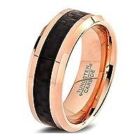 MNH Mens Ring Tungsten Wedding Band 8mm Comfort Fit Rose Gold Black Carbon Fiber Beveled Edge Polished Ring Size 7-13