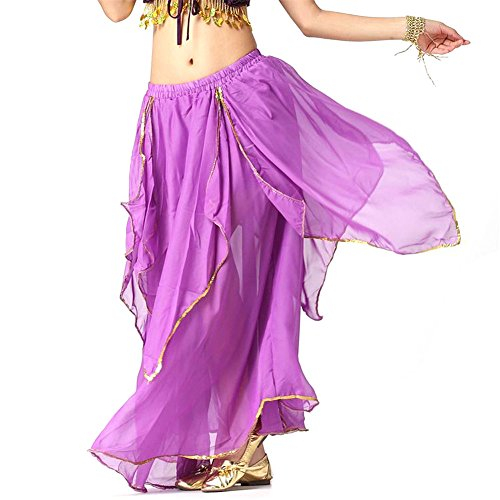 [Belly Dance Skirt 4-Pieces Gold Trim Skirt Dancing Dress Chiffon Belly Dance Costume dark Purple] (Purple Belly Dance Costume)