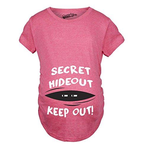Maternity Secret Hideout Baby Peeking Maternity Shirt Funny Pregnancy Shirts (Pink) XL