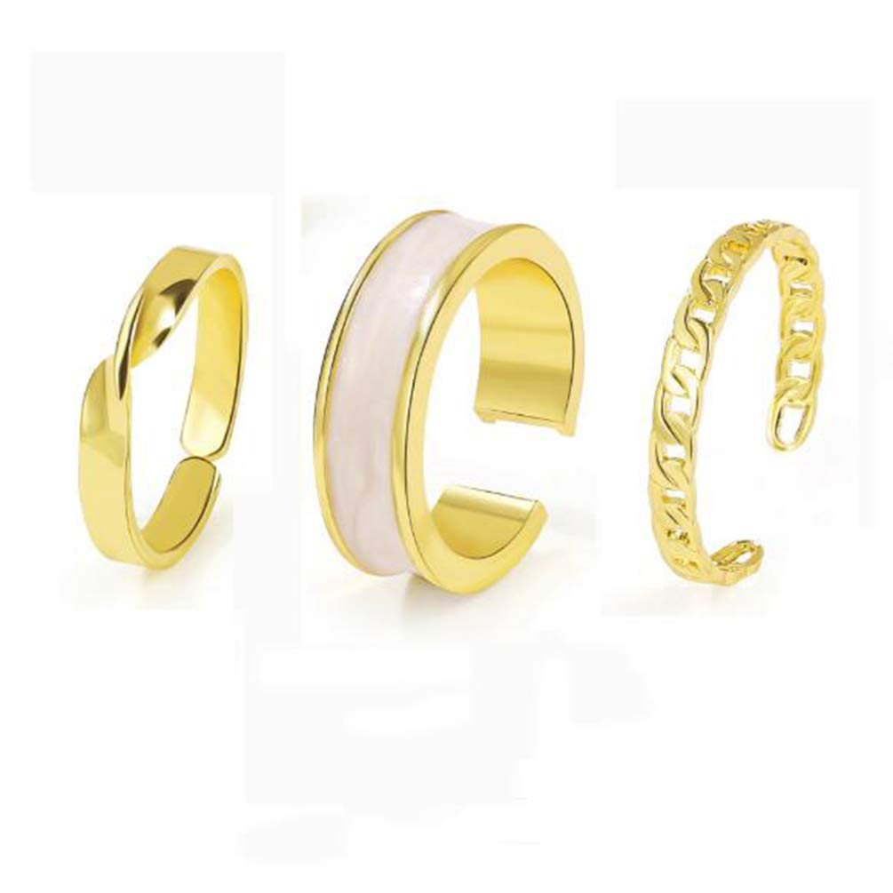 Retro three-piece ring simple wide face dripping oil index finger ring