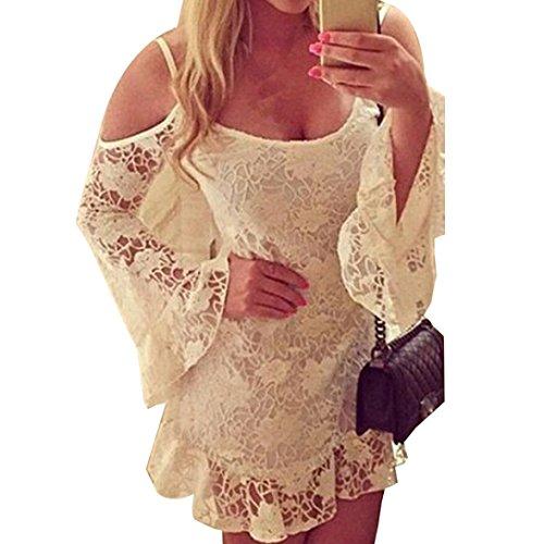 JUNKE Women Summer Beach Lace Dress Casual Short Mini Dress (US4)