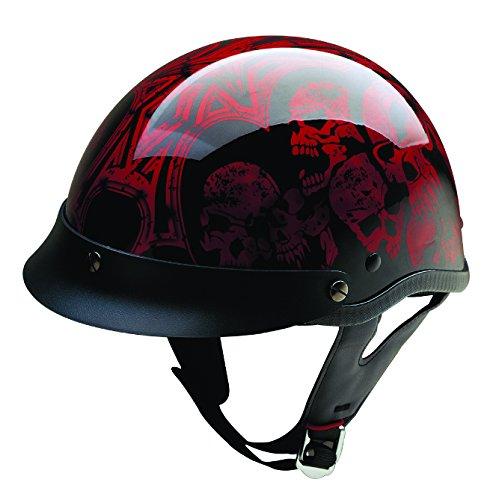 Hci Half Helmet (HCI HCI-100 Screaming Skulls Half Helmet with Visor (Black and Wine, Large))