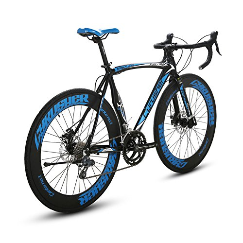 Cyrusher Black Blue Aluminium Frame 56 cm 700C 70MM Mens Road Bike Shimano 2300 14 Speeds Road Bicycle Mechanical Disc Brakes Cyrusher