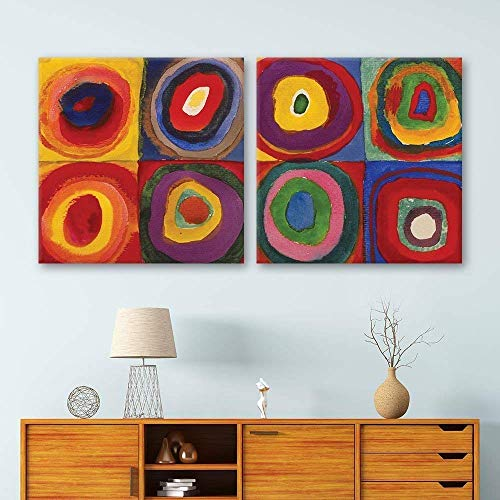 wall26 2 Panel Square Canvas Wall Art - Abstract Circles by Kandinsky - Giclee Print Gallery Wrap Modern Home Decor Ready to Hang - 24