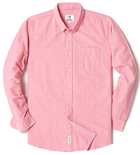 Men's Long Sleeve Oxford Regular Fit Button Down Casual Shirt Pink X-Large