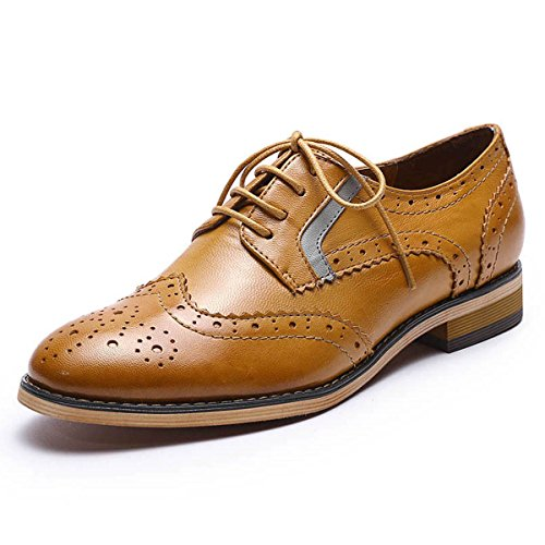 Mona Flying Womens Leather Perforated Lace-up Oxfords Shoes For Women Wingtip Multicolor Brougue Shoes Brown HrF1om4Is5