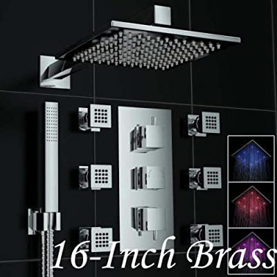 Rozinsanitary LED 16 Inch Rain Shower Faucet Thermostatic Mixer Valve Tap with 6 Body Sprays