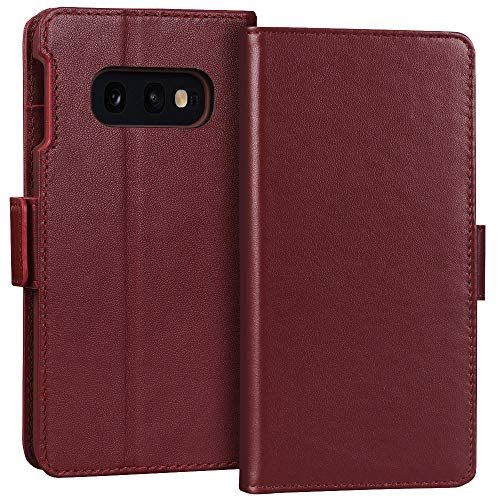 FYY Samsung Galaxy S10e 5.8 Luxury [Cowhide Genuine Leather][RFID Blocking] Handcrafted Wallet Case, Handmade Flip Folio Case with [Kickstand Function] and[Card Slots] for Galaxy S10e (5.8) Wine Red