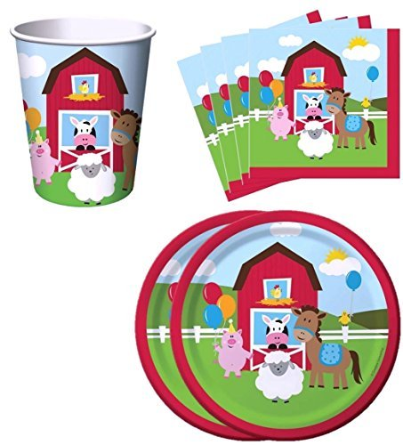 Farm House Fun Barnyard Animals Birthday Party Supplies Set Plates Napkins Cups Kit for 16 by Creative Converting ()