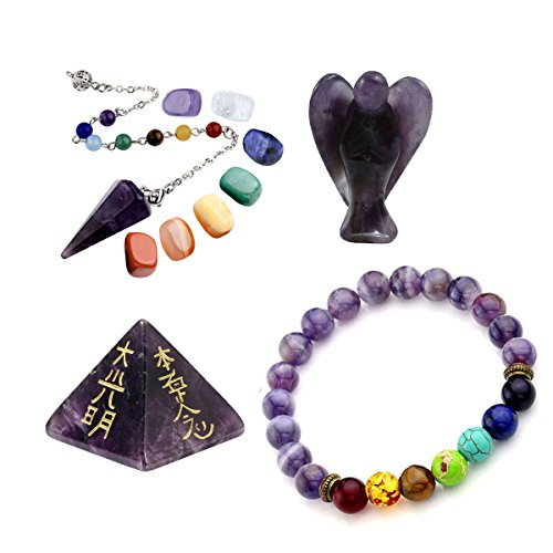 Fluorite Bracelet Purple - CrystalTears Healing Crystal Kit,Lot of Amethyst Guardian Angel,Palm Stones,Pendulum,7 Chakra Bracelet,Amethyst Pyramid Meditation Set