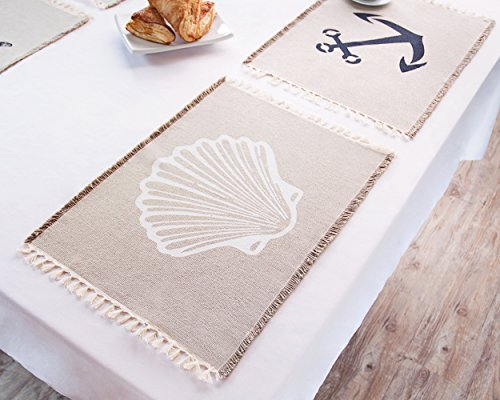 Living Fashions Table Placemats Set By 4 Beach Themed Nautical Kitchen Place Mats For The Dining Table Made With 100% Washable Cotton - Seashell, Sand Dollar, Starfish & Anchor Designs With Fringes by Living Fashions (Image #5)