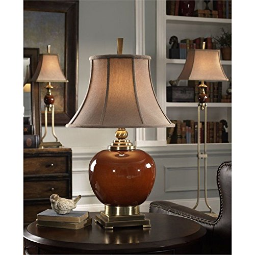 (Uttermost Daviel Porcelain Table Lamp in Cinnamon Red Transitional .by_homesquarecom it#469191911148257)