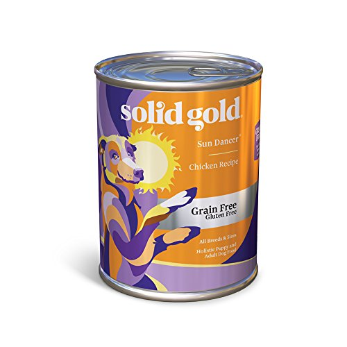 Solid Gold Sun Dancer Wet Dog Food, High Protein Chicken Recipe, All Life Stages, All Sizes, 13.2 oz Can, 12 Count