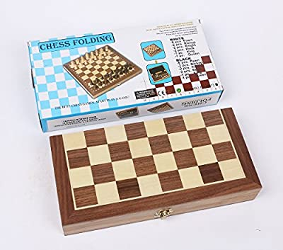 Portable Wooden Magnetic Travel Chess Set with Folding Chess Board Educational Toys for Kids and Adults