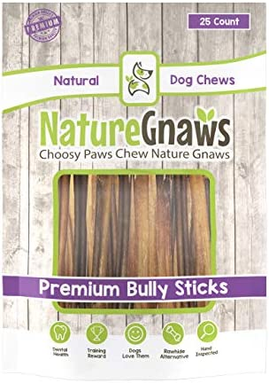 Nature Gnaws Extra Thin Bully Sticks 5-6 – 100 Natural Beef Chew Treats for Small Dogs