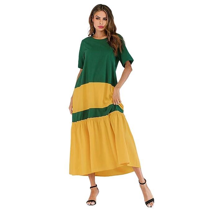 4a1386507b8 kaifongfu Beach Dress for Women Summer Halter Bohemian Style Color Block Long  Maxi Dress Short Sleeve