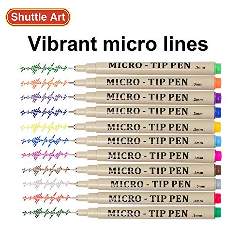 Shuttle Art 18 Pack Ultra Fine Point Tip Micro Line Pens - Waterproof Archival Ink & 11 Colors in 0.3MM Felt Tip - 7 Blacks in Tip Sizes 0.15MM to 0.5MM For Journaling Technical Illustrating Drawing by Shuttle Art (Image #2)