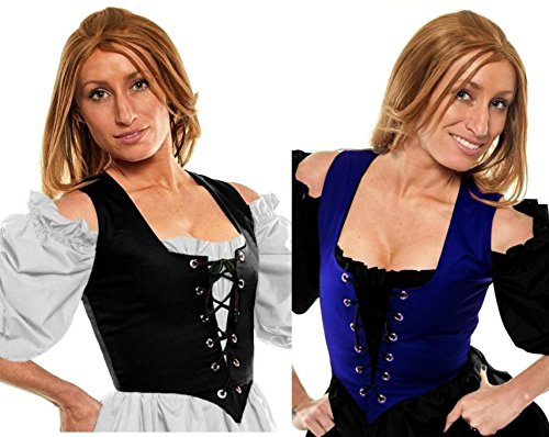 Renaissance Halloween Costume Belle Princess Peasant Wench Bodice Blue/Black (M:Bust: 39
