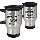 His & Her Greatest Catch Matching Couple CoffeeTravel Mug Set – Valentine's Day Wedding Engagement Anniversary Birthday – Two Stainless Steel Insulated Mugs With Lids