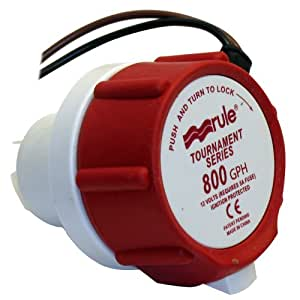 Rule 46DR Marine Rule 800 Replacement Motor for Tournament Series Livewell Pumps,White/Red