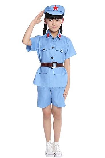 BOZEVON Adultos Niños Niñas Hombres Mujeres Ropa Militar, Uniformes de Guerra de Resistencia de China, Traje de Cosplay, Trajes de Rendimiento