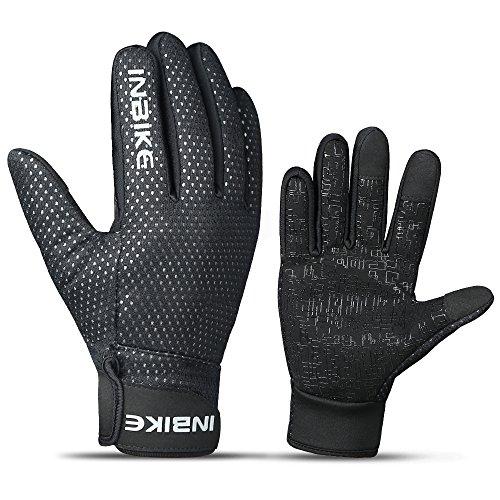 INBIKE Men's Winter Cold Weather Thermal Windproof Gel Gripper Bike Gloves Black Medium (Gelee Gripper)