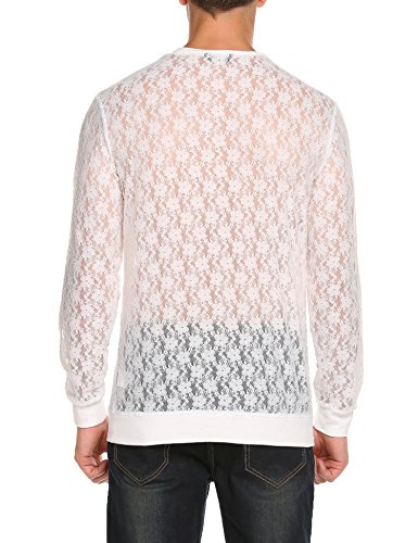 6f82e6057ed JINIDU Mens See Through Mesh T-Shirts Long Sleeve Sexy Fashion Tees Tops